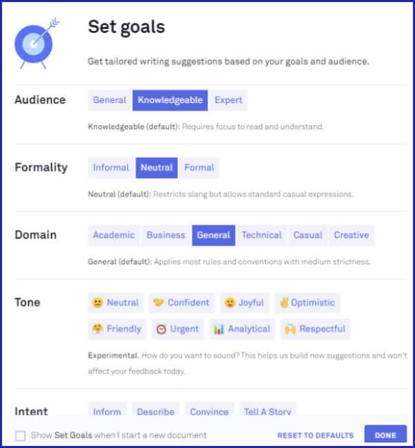 Where to Set Goals in Grammarly Premium